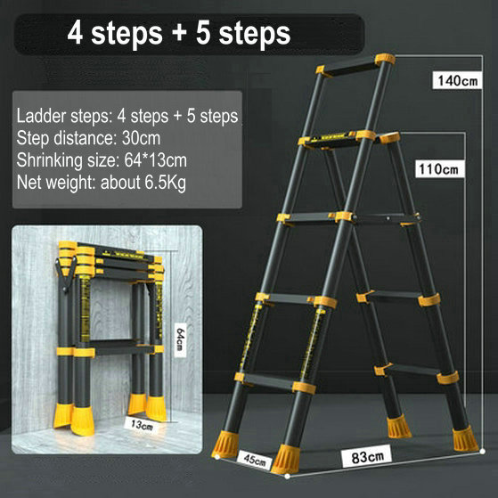1.1M/1.4M Multi-Function Aluminum Telescopic Ladder Household Trestle Ladder Portable Five-Step Ladder Collapsible Lift Stairs