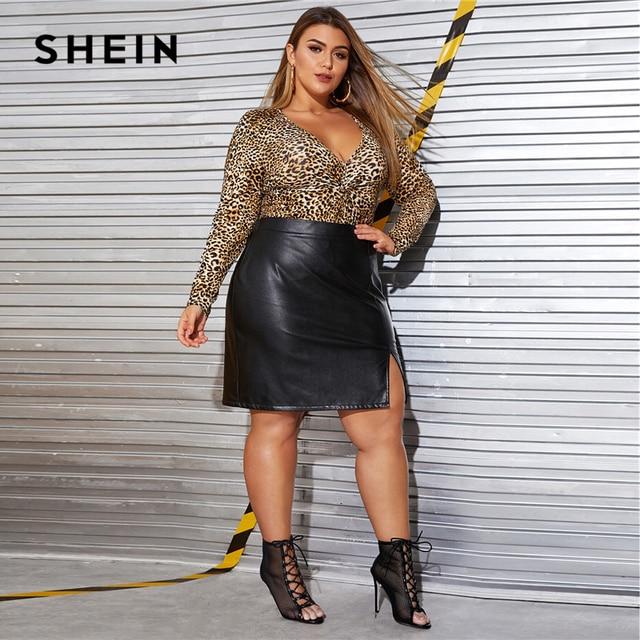 SHEIN Plus Size Black Split Side Skinny PU Skirt Women Autumn Solid Big Size Motor Storm Glamorous Mini Straight Skirts 3