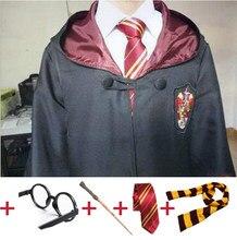 Pelerin Robe Hermione Granger Cosplay kostüm cadılar bayramı kravat eşarp gözlük Potter Cosplay elbise pelerin hediye aksesuarları