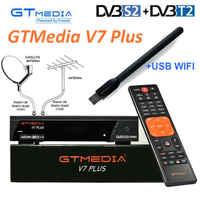 GTMEDIA V7 PLUS Set Top Box mit kostenloser Cccam Clines für 1 jahr Spanien Europa DVB-T2/S2 Rezeptor H.265 AC3 AC3 + Satellite Empfänger
