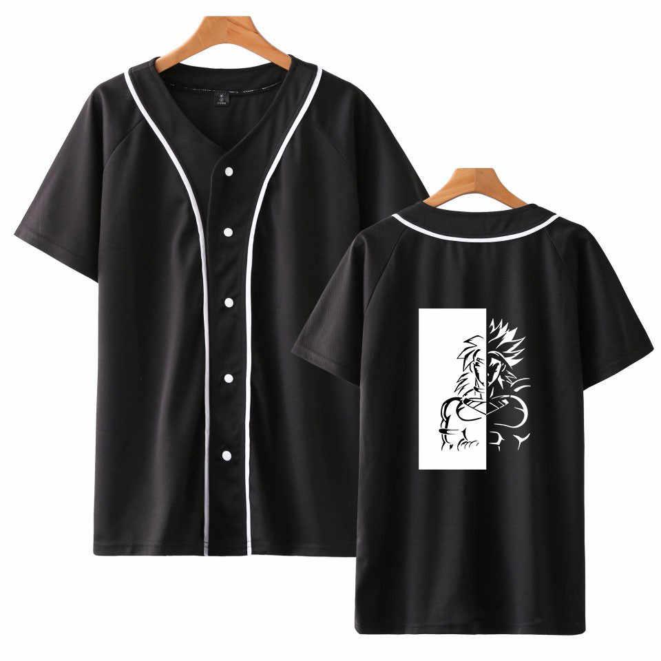 Dijual Hot Anime T-shirt Dragon Ball Goku Dicetak Bisbol T Kemeja Lengan Pendek Jaket Streetwear Kaos PLUS ukuran