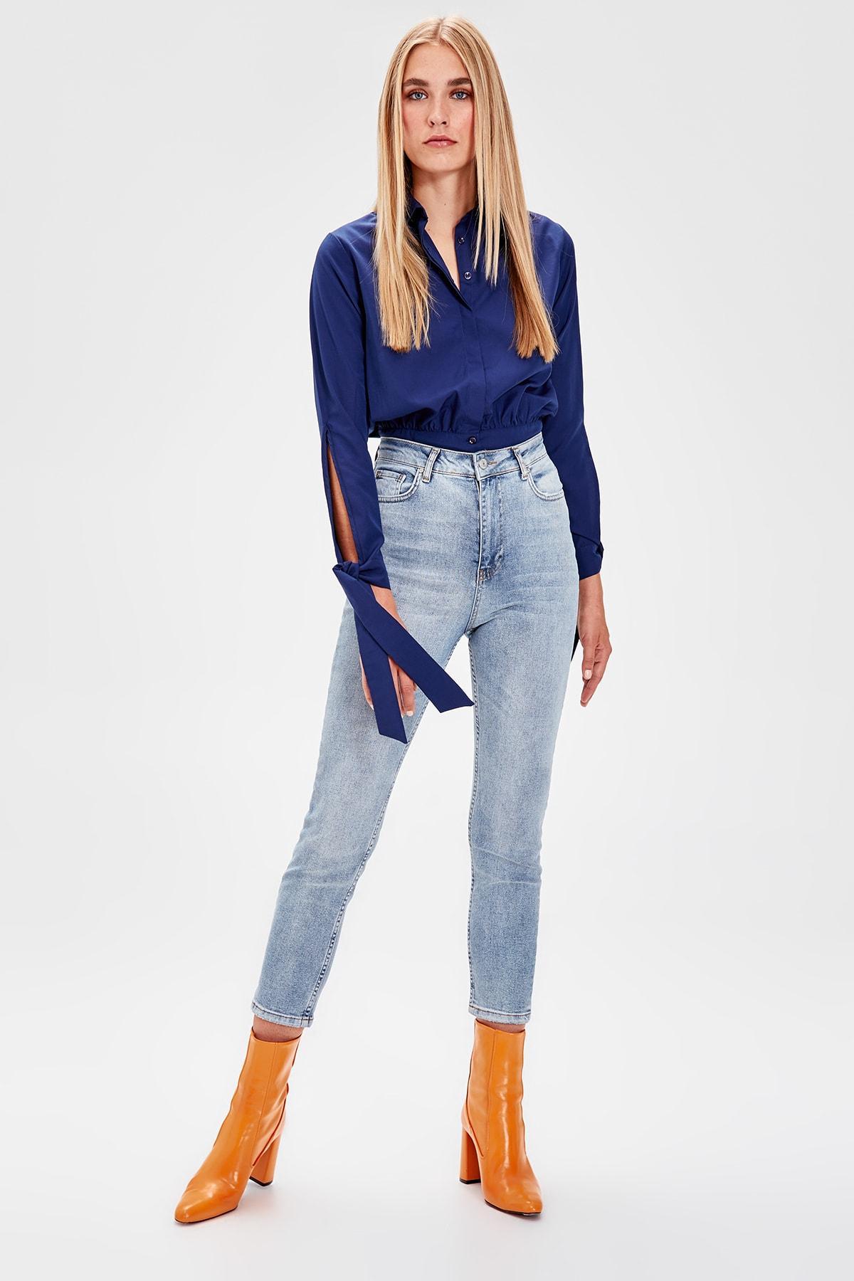 Trendyol Blue High Waist Slim Fit Jeans TWOAW20JE0088