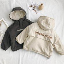 WLG-parkas de invierno para niños y niñas abrigo grueso de terciopelo con capucha y manga larga con letras impresas, color beige y gris