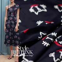 110 см широкая шелковая ткань с принтом кота 12 мм шелковая крепдешин ткань летняя рубашка платье креп ткань оптовая продажа шелковая ткань