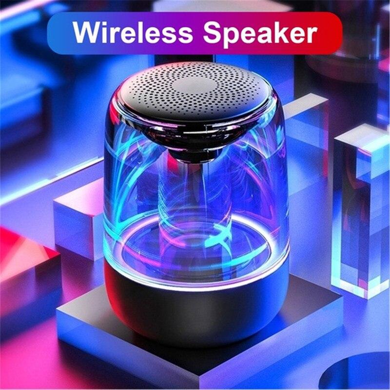 Einzelnen HIFI bluetooth 5,0 TWS Wireless Stereo Lautsprecher Mp3 Player Bass Subwoofer Transparente Design Atmen LED Licht