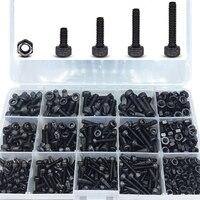 TOP! 500 Pcs Grade 12.9 Black M3 M4 M5 Inner Hex Socket Head Cap Screws Assortment Set Kit