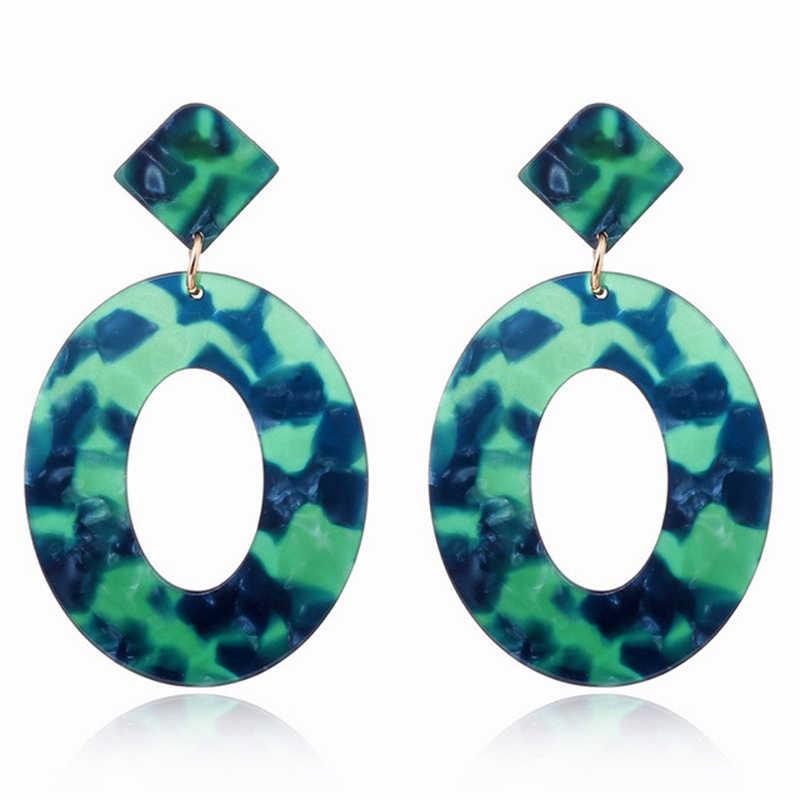 XIYANIKE Verde Escuro Moda Azul Geométrica Redonda Grande Círculo de Acrílico Brincos de Pedra Brincos Longa Queda Para As Mulheres Menina de Ácido Acético
