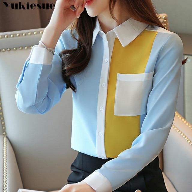 2020 summer Fashion Women Chiffon Blouses Office Lady Shirts Long Sleeve Pocket Women Tops Casual Spliced Womens blusas Clothing 5