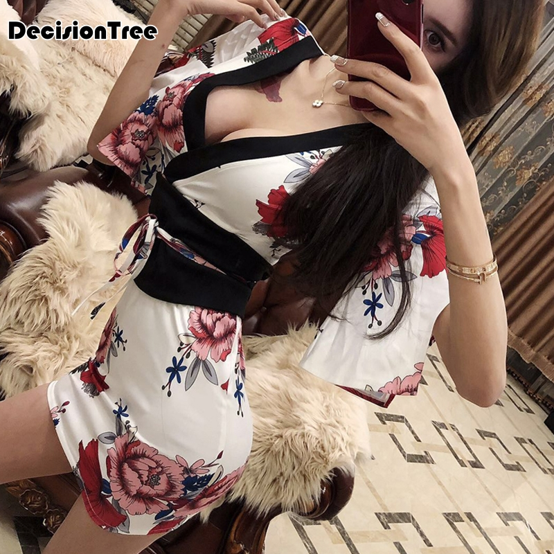 2020 Women's Yukata Japanese Kimono Robes Pajamas Cotton Dress Suits Kimono Dress Nightgown Sleepwear Bathrobe Leisure