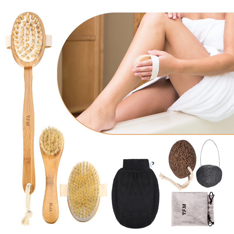 Luckyfine 7 In 1 Body Clean Bath Brush Set Exfoliating Lipid Massage Health Care SPA Wooden Shower Brush Bathroom Accessories