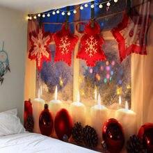 Рождественский гобелен настенный для пикника звезда снежинка