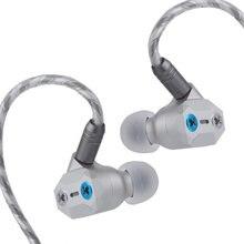Shuoer fita pro driver dinâmico eletrostático composto de alta fidelidade in-ear fone de ouvido com baixo ajustável, destacável cabo 2pin