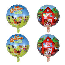 10 шт./лот 45*45 см мультяшная ферма, райский фольгированный воздушный шар, украшение вечерние, Globos, животные, фольгированные гелиевые шары, дет...