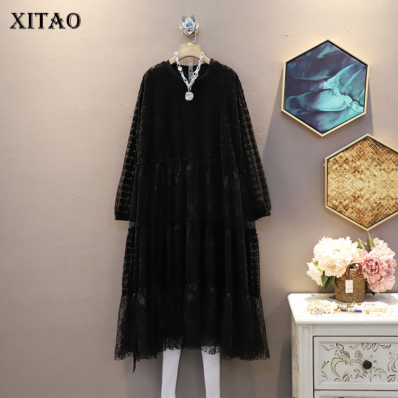 XITAO Hollow Out Draped Solid Dress Women 2020 Autumn Casual Fashion Style Temperament Loose O Neck Full Sleeve Dress ZP2780