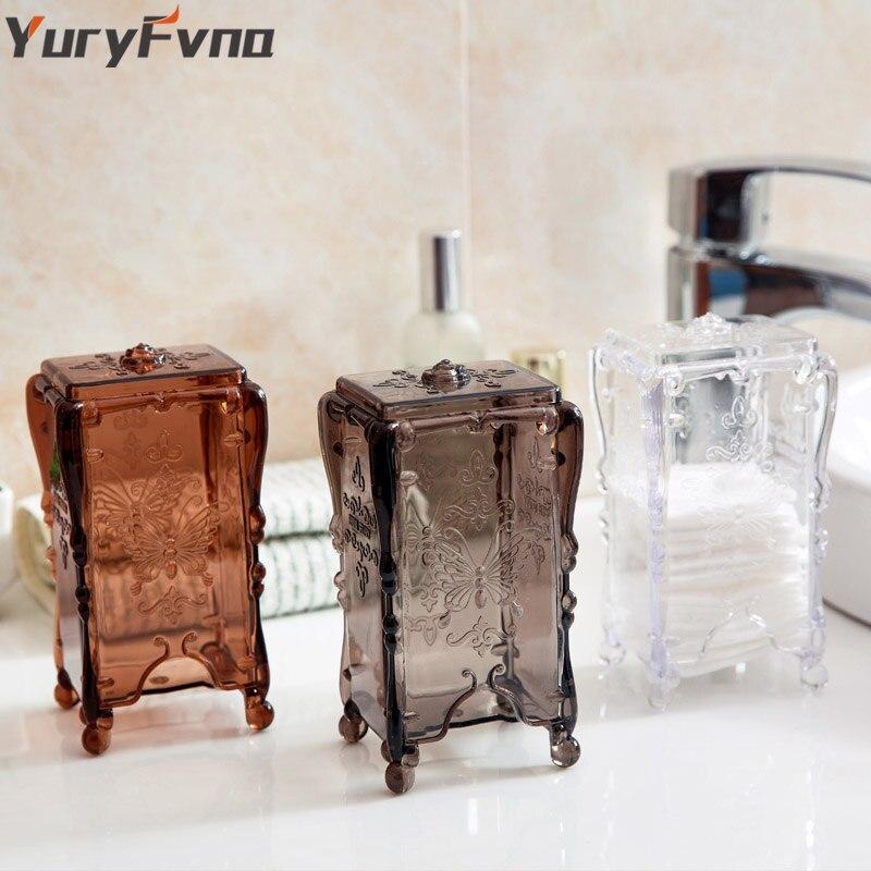 YuryFvna Cotton Pad Organizer Storage Box Holder Makeup Organizer Clear Cotton Pad Cosmetic Dispenser Container Holder Case
