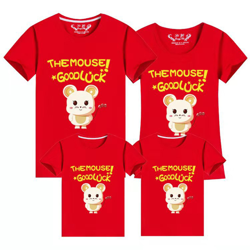 New Year Mouse Family Clothing Family Matching Clothes Matching Outfits Clothes 2020 Summer T-Shirts Daddy Mother Son Outfits