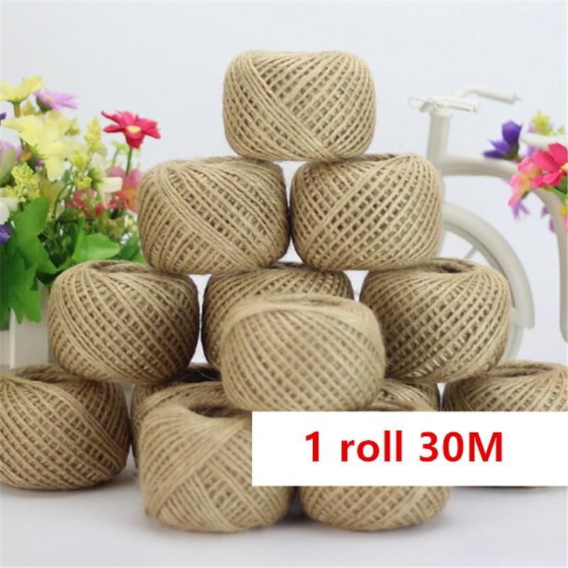 1 рулон, 30 м, джутовая пеньковая верёвка из натурального сизаля, 2 мм, упаковка для этикеток, свадебное украшение, витая веревка, вечерние укра...