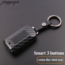 3 кнопки карбоновый Модный чехол для автомобильного ключа умный