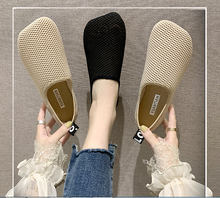 Women's sandals 2020 new shallow mouth flying woven mesh shoes square head knitted flat bottom breathable mesh peas shoes europe america new mesh breathable sneakers women s solid color round head shallow mouth casual thick bottom laceup single shoes