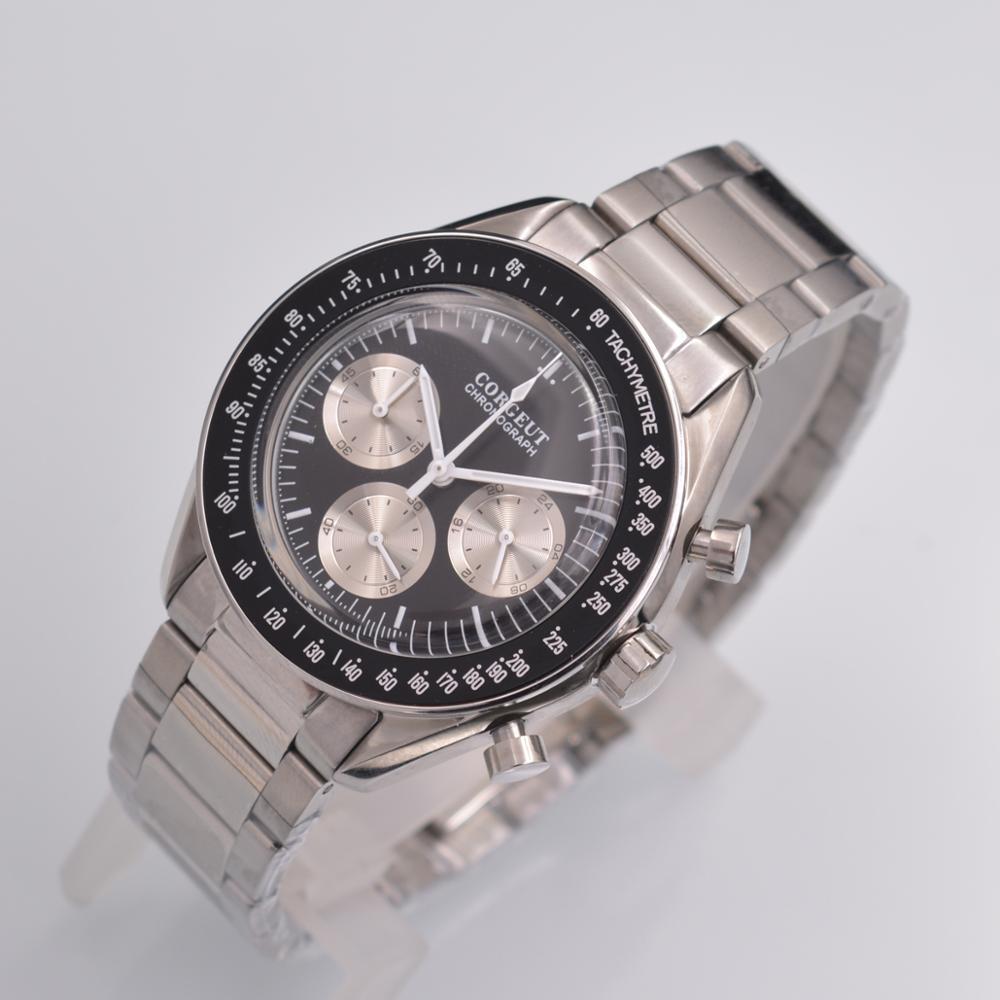 Chronograph Quartz Corgeut Wrist-Watch Male Clock Business Stainless-Steel Top-Brand