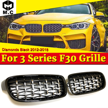 For BMW F30 Saloon Kidney Grille Grill Diamonds ABS Gloss Black M3 Look Sports 3 Series M Performance Front Grills 12-18