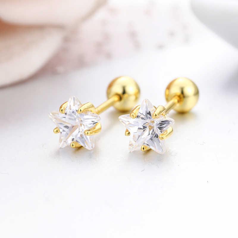 4 kolory słodkie pięcioramienna gwiazda cięcie CZ kamień śruba powrót stadniny kolczyki dla kobiet dla dzieci dla dzieci dziewczyny złoty kolor piercing biżuteria Aros