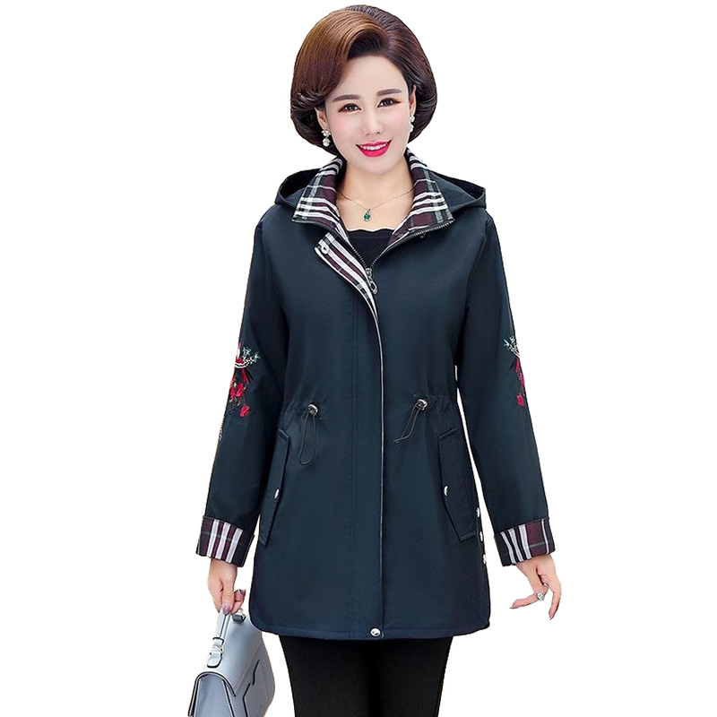 2019 middle aged   trench   coat spring autumn embroidery casual outerwear women Hooded belt slim zipper windbreaker Plus size A2926