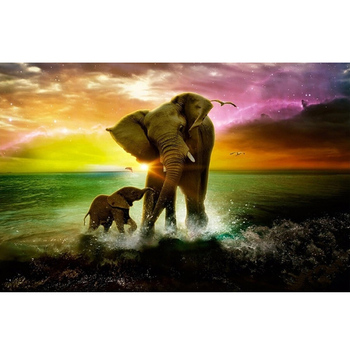 Full Square Drill 5D DIY Diamond Painting Cross Stitch Elephant 3D Diamond Embroidery landscape mosaic Rhinestones picture M925 image