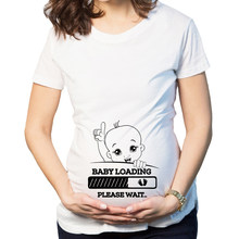Brand New Women Pregnancy Clothes Baby Loading Pls Wait Maternity T Shirt Striped Summer Short Sleeve Pregnant T-shirt(China)