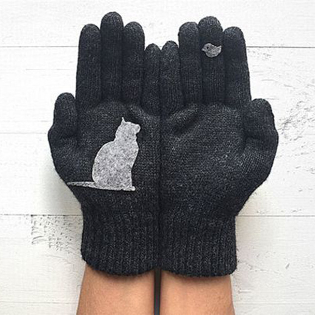 Cartoon Cat Knitted Gloves Women Winter Warm Outdoor Riding Thicken Printed Cold Proof Imitation Cashmere Pure Color Soft Gloves 3