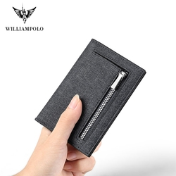 WILLIAMPOLO Genuine Leather Wallet Men Purse Cowhide Short Card Holder Slim Card Holder With Zipper Pocket PL195220