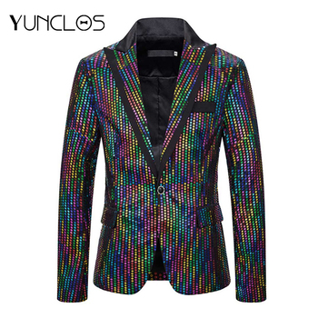 Hot Shining Blazer  Single Breasted Sequin Stage Suit Singer Performance Mens Wedding Party Hip Hop Costume