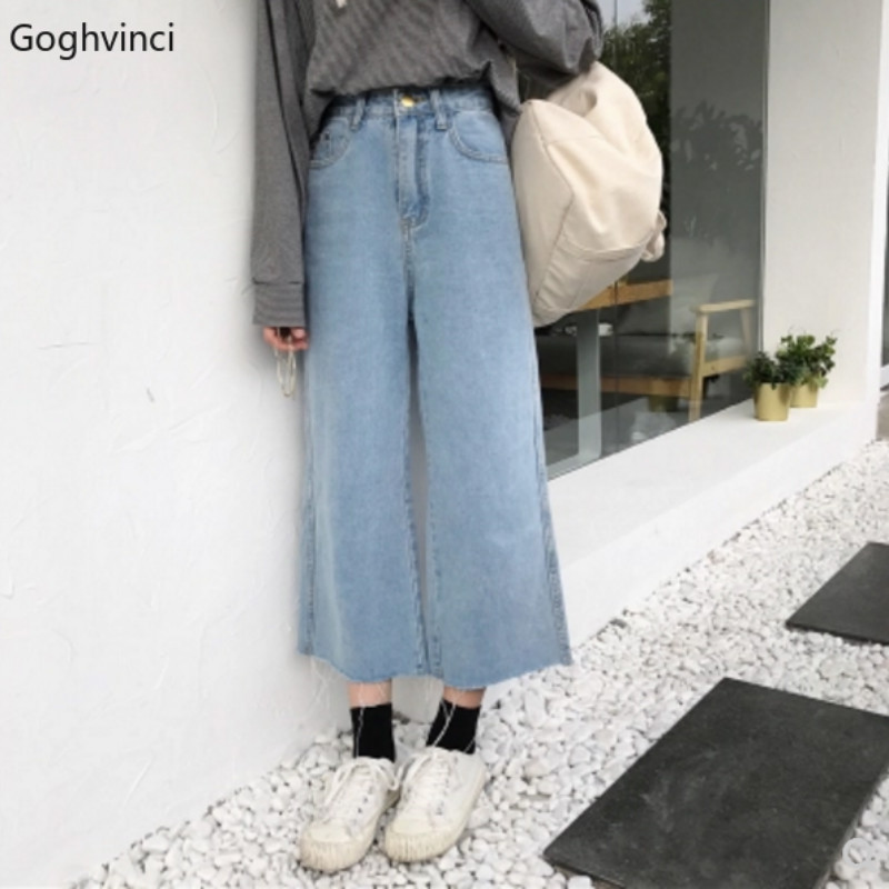 Jeans Women Ankle-length All Match Harajuku Females Trousers Womens High Waist Korean Style Solid Students Casual Hot Sale Chic