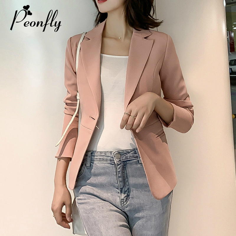PEONFLY 2019 Women Formal Pink Red Blazer Long Sleeve Ladies Coat Female Pockets Single Buttons Blazer Solid Business Suits