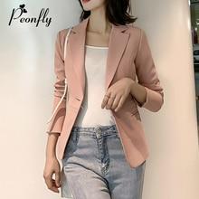 PEONFLY 2019 Women Formal Pink Red Blazer Long Sleeve Ladies Coat Female Pockets