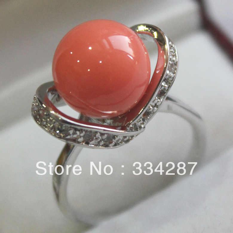 + + + جميل المرجان الوردي الفضة البحر قذيفة اللؤلؤ 12 مللي متر الخرز خاتم المرأة هدية مجوهرات الأزياء