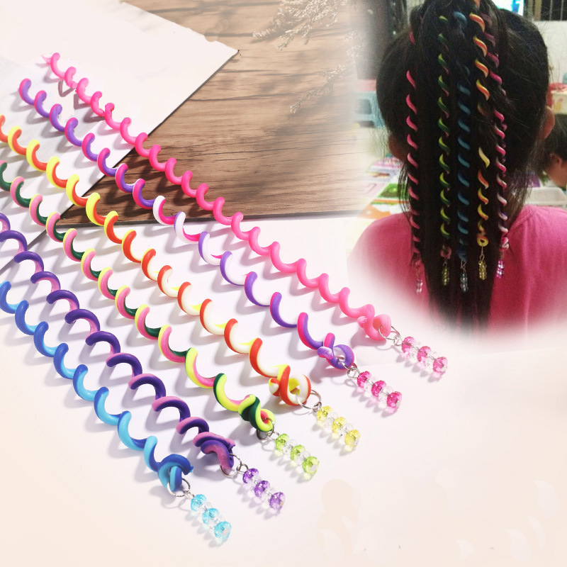 6PCS/Pack Rainbow Color Headband Children Self-edited Hair Curler Girls Soft Pottery Spiral Elastic Hair Bands Creative Headwear