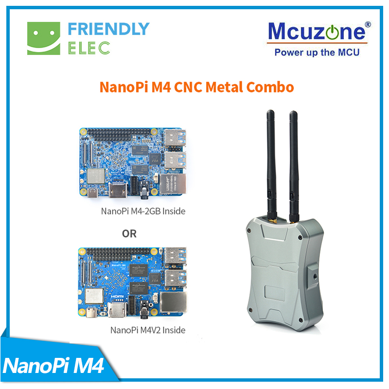 NanoPi M4-2GB/M2V2 CNC Metal Case Combo Rockchip FriendlyELEC RK3399 SoC 2.4G & 5G Dual-band WiFi+Bluetooth 4.1 Ubuntu Android