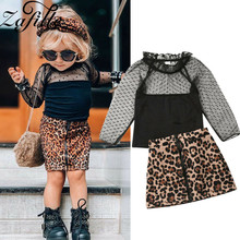 ZAFILLE Girls Clothing 2Pcs Lace Top+Leopard Skirt Baby Girl Clothes Long Sleeve Toddler Outfits Sets Kids Clothes Baby Clothing winter baby girl clothes set kids clothing sets thick warm baby coats pants 2pcs kids suits flower toddler baby clothes outfits
