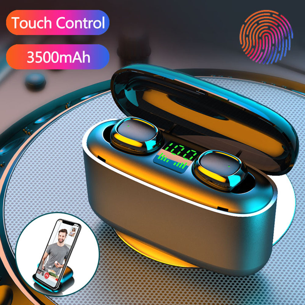 3500mAh LED Bluetooth Wireless Earphones Headphones IPX7 Waterproof Noise Cancelling Sport Earbuds With Microphone Touch Control
