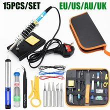 Electric Soldering Iron EU/US/UK Plug 60W 220V/110V Adjustable Temperature Soldering Iron kit Soldering Iron Stand Welding Tools цена