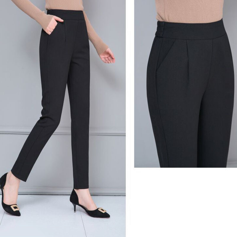 2020 Spring & Autumn Women's Slim Classic Trousers Casual Fashion Solid Color Mid Waist Long Trousers Office Commute Wild Pants