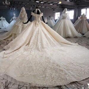 Image 2 - HTL1082 бальное платье, свадебное платье, роскошное платье для невесты с высоким воротом и открытыми плечами, блестящее платье, свадебное платье