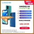 In Lager UMIDIGI A9 Smart Telefon Android 11 Globale Version 13MP AI Triple Kamera Helio G25 Octa Core 6.53