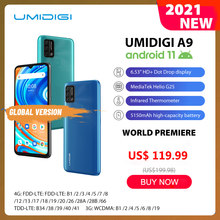 In Lager UMIDIGI A9 Smart Telefon Android 11 Globale Version 13MP AI Triple Kamera Helio G25 Octa Core 6.53