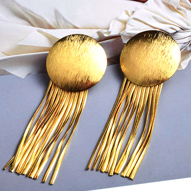 Gold Metal Chain Tassel Earrings  5
