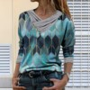 Blouse Women Vintage Shirt Women Tie-dye Printed Embroidery Collar Long Sleeve Pullover Blouse Tops Blusas Mujer рубашка женская 2