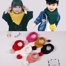 Осенне-зимние детские нагрудники Милая вязаная акриловая шерсть для маленьких мальчиков и девочек удобный мягкий теплый шарф модная накидка на шею