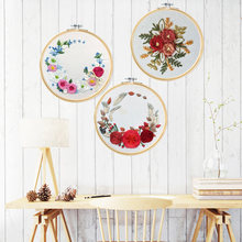 DIY Embroidery Kit Bordado Beginner Handwork Needlework Cross Stitch Kit Ribbon Painting Embroidery Hoop Home Decoration