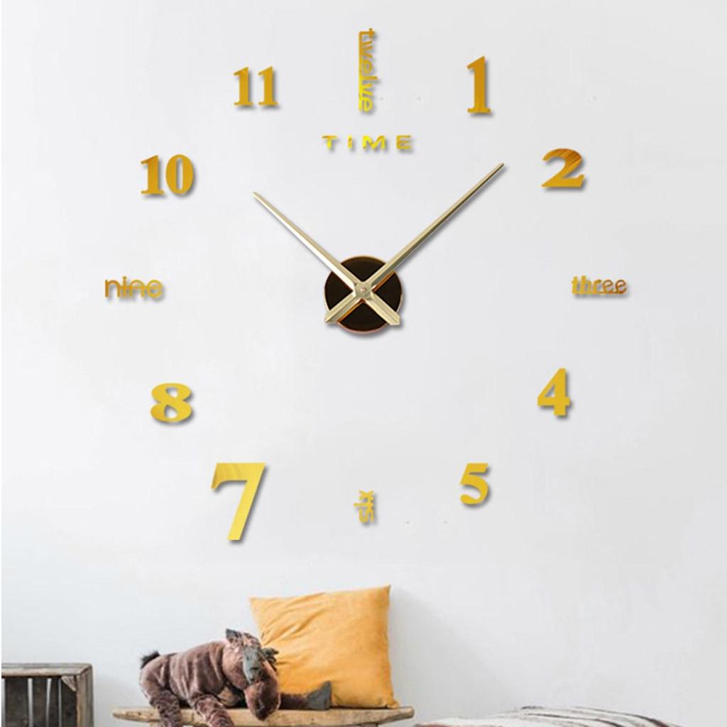 Modern Design Clock Watch Large Wall Clocks 3d Diy Acrylic Mirror Mechanism Stickers Home Living Room